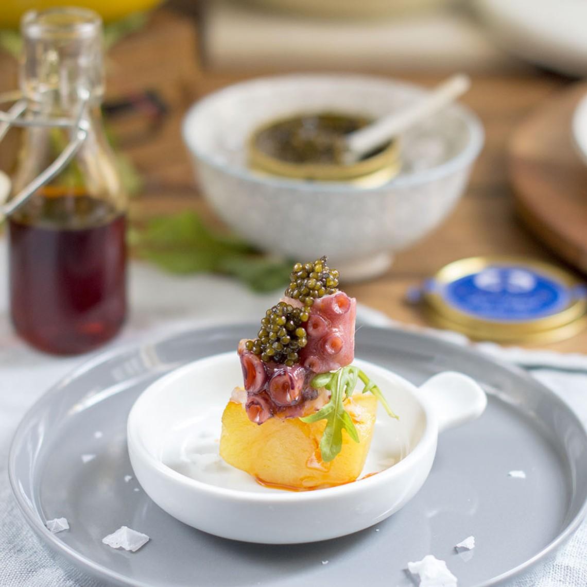 Pulpo con patatas confitadas y Caviar del Tíbet