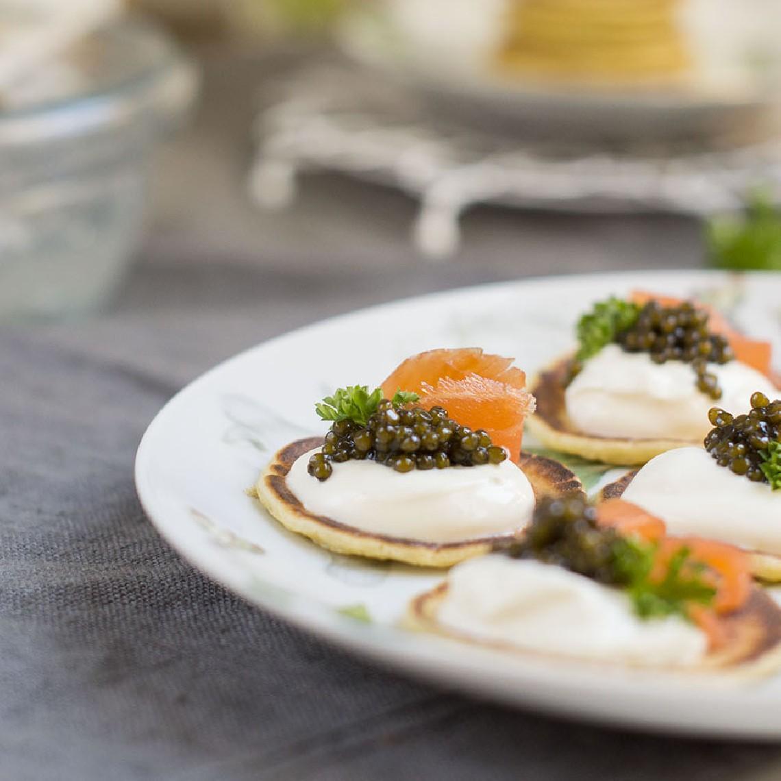 Blinis con Caviar del Tíbet